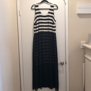 Vince Camuto Striped Dress w/ Sheer Overlay